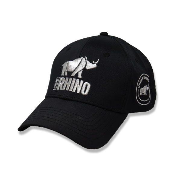 Urban Rhino Baseball Cap - black with silver logo